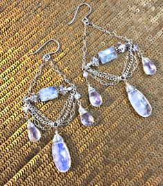 Moonstone Chandelier Earrings Sterling Silver by DoolittleJewelry