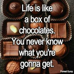 Life is like a box of chcolates Chocolate Humor, Choco Chocolate, Chocolate Quotes, Chocolate Pictures, Chocolate Delight, I Love Chocolate, Chocolate Heaven, Chocolate Lovers, Chocolate Cookies