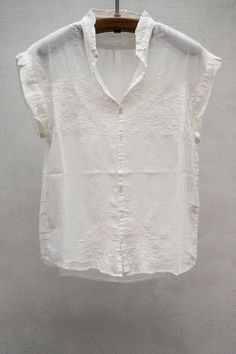 Pas de Calais - Embroidered Button Down Blouse