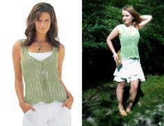 Light green crochet top inspired by Victoria's Secret.