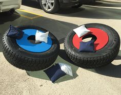 Follow this step-by-step guide (w/pictures) to make a cornhole set out of old tires. Reduce, reuse, & recycle old tires with Firestone Complete Auto Care!