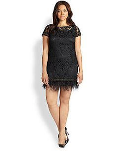 Kay Unger, Sizes 14-24 Lace Feather-Detail Dress