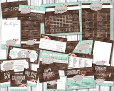 Honey and Lace Small Business Marketing Kit, Honey & Lace Consultant Bundle Pack, Custom Marketing Set in rustic wood vintage shabby chic, business card, price list, size chart guide, thank you , care card, facebook online live sale signs and graphics, style / price / size cards by TootSweetDesignCo on ETsy