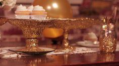 DIY Glitter-Dipped Cake Stand