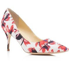 Ivanka Trump Tirra Floral Pointed Toe Pumps ($89) ❤ liked on Polyvore featuring shoes, pumps, dark red, dark red pumps, pointy toe pumps, floral pumps, floral printed shoes and ivanka trump