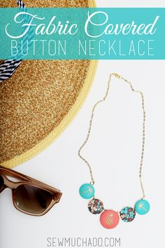 Learn to make a DIY fabric covered button necklace with this easy tutorial! Use your favorite fabrics to make a fun new accessory that you'll love to wear!