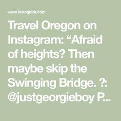"Travel Oregon on Instagram: ""Afraid of heights? Then maybe skip the Swinging Bridge. 📷: @justgeorgieboy Please note, the Swinging Bridge is currently closed for…"" Oregon Road Trip, Oregon Travel, Bridge, Notes, Math, Instagram, Report Cards, Bridge Pattern, Math Resources"