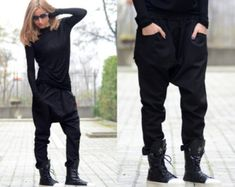 Loose Women Pants/ Drop Crotch Pants/ Extravagant Pants/ by Adeptt Low Crotch Pants, Baggy Pants, Black Harem Pants, Harem Trousers, Loose Pants, Black Trousers, Wide Leg Pants, Casual Pants, Casual Shoes
