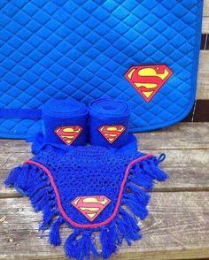 Superman Logo Embroidered Set Saddle Pad Polo Wraps and Fly