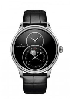 Grande Seconde Moon Onyx | Black onyx dial. Stainless steel case. Black onyx moon disc, star and moon appliques in 18-karat white gold and 22-karat white gold respectively. Pointer-type date display and astronomical moon phases at 6 o'clock. Self-winding mechanical movement. Power reserve of 68 hours. Diameter 43 mm.