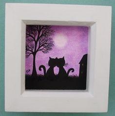 #Valentines #Cat #Picture: #Romantic Cats #Framed, Valentines #Art, Cat #Gift, #Love Art £12.50