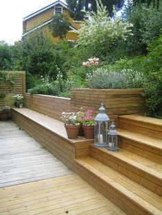 Vi skaper terrasser med lidenskap for deg Sloped Backyard, Sloped Garden, Backyard Patio, Backyard Landscaping, Back Gardens, Outdoor Gardens, Orangerie Extension, Patio Deck Designs, Back Garden Design