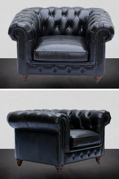 Chesterfield 1-Seater Leather Sofa Black Our Greyson leather Chesterfield collection is hand crafted by skilled artisans with genuine imported Brazilian top grain leather.  The frame is built from solid eucalyptus wood and the legs are crafted from solid pine wood.  The cushioning does not need to be periodically re-fluffed since it is a 50% blend of duck feather and foam specially designed for comfort and practicality.  The Greyson sofa is an investment that will last for the years to come. Chesterfield Sofas, Leather Chesterfield, Black Leather Sofas, Solid Pine, Love Seat, Living Spaces, Accent Chairs, Feather, Legs