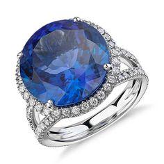 Tanzanite and Diamond Halo Split Shank Ring in White Gold center)… Tanzanite Jewelry, Gemstone Jewelry, Gold Jewelry, Jewelry Box, Jewelry Rings, Jewelry Making, Blue Nile Jewelry, Blue Rings, Halo Diamond
