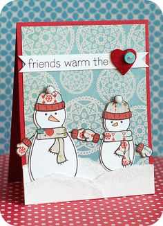 """""""Friends Warm the Heart"""" supplies:   Cardstock: Bazzill Basics (red) & Papertrey Ink (smooth white)  Paper: Prima Marketing (North Country 6x6 pad)  Stamps: Lawn Fawn (Making Frosty Friends set)  Ink: Tsukineko (Versafine: onyx black)   Felt Heart: Making Memories  Button: Fancy Pants  Twine: May Arts  Puff Balls: Darice Inc.  Glitter: DecoArt"""