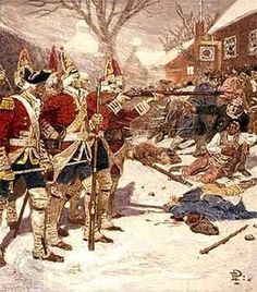 This is a scene of the Boston Massacre, one of the early trials of the American Revolution.
