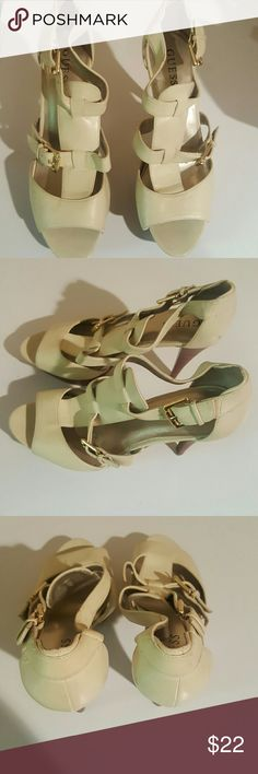 Guess heels! Cream Guess platform heels..... Adjustable straps for front & back of shoes Gently worn- Great condition Guess Shoes Platforms