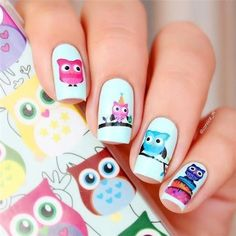 Cheap stickers paint, Buy Quality sticker for directly from China sticker phone Suppliers: 2 Patterns/Sheet Cartoon Owl Nail Art Water Decals Transfer Nails Sticker BORN PRETTY # 20600 Nail Water Decals, Nail Art Stickers, Nail Decals, Owl Nail Art, Owl Nails, Minion Nails, Summer Acrylic Nails, Summer Nails, Nail Art Pena