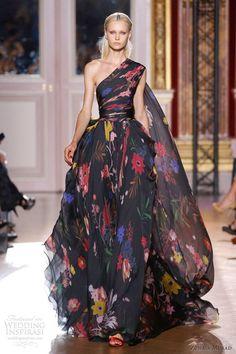 Zuhair Murad otoño invierno 2012 2013 de alta costura vestido negro de la ONU Hombro bola estampado reva porción floral