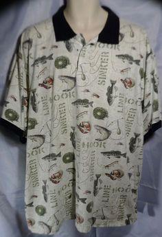 Mens 2XL Polo Shirt Hook Line & Sinker Fishing 100% Cotton Puritan #Puritan #PoloRugby