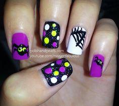 Spider nail art  #Halloween #Nails