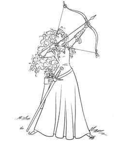 Merida Directing Bow Arrow Coloring Pages