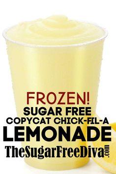 Sugar Free Copycat Chick-fil-A Frozen Lemonade sugarfree copycat lemonade diy homemade beverage drink yummy recipe 62768988543560361 Sugar Free Drinks, Sugar Free Desserts, Sugar Free Recipes, Low Carb Desserts, Ww Recipes, Diabetic Recipes, Low Carb Recipes, Diabetic Drinks, Copycat Recipes