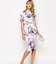 The New Bridesmaid Look: Sleek Separates - True Violet Scuba Floral Print Pencil Skirt with Peplum and Scuba Top