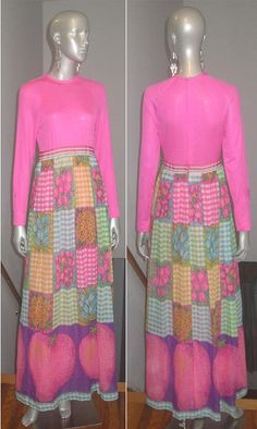 For sale at Retrophoria.com, $225.00 - 1960's Long maxi dress  Knit woven & solid & print combination