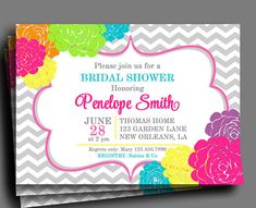 Flowers in Bloom Invitation Printable - Bridal Shower, Baby Shower Invitation, Birthday Invitation, ANY Occasion - Colorful Blooms