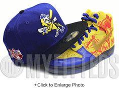 Burlington Bees Royal Blue Black Honey Comb Mid West League Side Patch New Era Hat UP NOW ON MYFITTEDS.COM