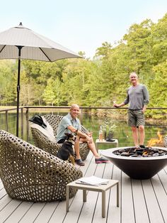 Quinn, seated, and Parrish, enjoy the lakeside firepit with their rescue dog, Izzy. Outdoor Rooms, Outdoor Furniture Sets, Outdoor Living, Screened Porch Designs, Piedmont Park, Lake Cabins, Atlanta Homes, Passion Project, Natural Phenomena