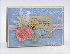 Stampin' Up! Sand & Sea Suite | Judy May, Just Judy Designs, Melbourne The Donkey, Friends Are Like, Glue Dots, Little White, My Stamp, White Ink, Paper Design, Sea Shells, Melbourne