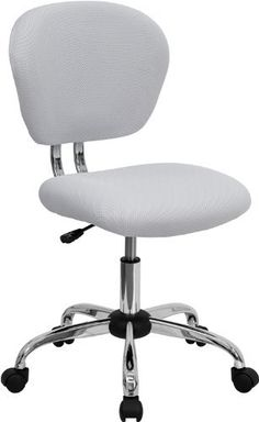 Flash Furniture H-2376-F-WHT-GG Mid-Back White Mesh Task Chair with Chrome Base by Flash Furniture. $64.45. Pneumatic seat height adjustment. White mesh upholstery. Mid-back task chair, 23-1/2-inch width by 25-1/2-inch depth by 33-1/2 37-1/2-inch height. Breathable mesh material. 2-inch Thick Padded Mesh Seat. This value priced mesh task chair will accommodate your essential needs for your home or office space. This chair will add a contemporary look to your w...