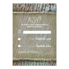 Rustic country tree wood wedding RSVP cards