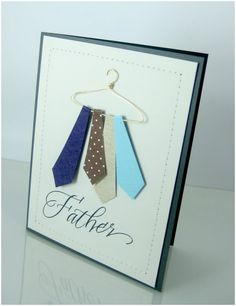 Father's Day Tie Card - to make the hanger use 18-gauge wire and using a pair of jewelry-making pliers, shape the wire into a cutesy little hanger