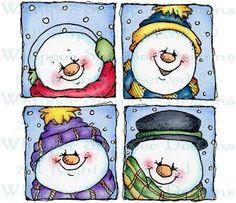 Snowman Quartet - Snowmen Images - Snowmen - Rubber Stamps - Shop
