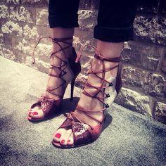@malonesouliers on @latelierbelgrade Instagram. Malone Souliers' terracotta panel elaphe, terracotta suede, terracotta nappa 'Savannah' lace-up sandals. #MaloneSouliers #LAtelierBelgrade #Stockists #Savannah #elaphe #snakeskin #sandals #luxury #womens #shoes #fashion