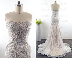Mermaid Lace Prom Gown, Champagne Lace Strapless Evening Dresses, Sweetheart Lace Formal Formal Gown