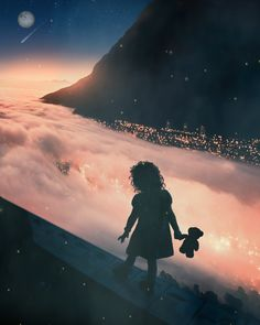 This photo sums up my digital art. A digital fantasy girl wandering out into a beautiful digital landscape. All of my digital art features common elements like this from digital landscapes, science fiction digital art, and digital girl art. Silhouette Photography, Art Photography, Magical Photography, Collage Portrait, Perspective Art, Magic City, Sky Art, Moon Art, City Lights