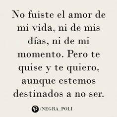 No fuiste el amor de mi vida, ni de mis días, ni de mi momento. Pero te quise y te quiero, aunque estemos destinados a no ser. —  Rayuela, Julio Cortázar