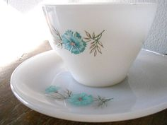 Image detail for -Fire-King Bonnie Blue Cornflower - Tea Cup and Saucer Set of 4 - 1950s