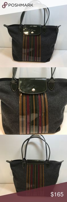 """Longchamp Shoulder Tote with Patent Stripes Like New Condition Longchamp large Tote Gray felted wool with Patent stripes in red/blue/green /gold.  Hunter Green Patent  handles with 9"""" strap drop. Large inside patch pocket with zipper. Beautiful and special edition. Will go fast!! Longchamp Bags Totes"""