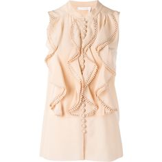 Chloé frill layered blouse ($1,395) ❤ liked on Polyvore featuring tops, blouses, frill blouse, sleeveless tops, ruffle top, pink blouse and nude blouses