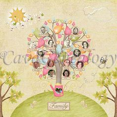 Colorful Family tree - 4 generations #genealogy