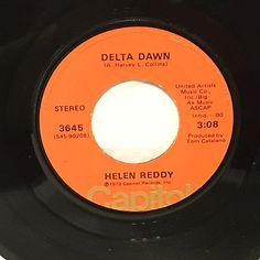 "Helen Reddy Delta Dawn 7"" Vinyl 45 rpm Record 1973"