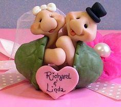 Personalized Turtles Wedding Cake Topper Keepsake