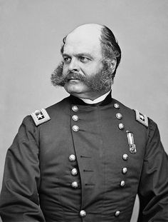 Major General Ambrose Burnside (Union) (1824-1881). After the war, Burnside served as a United States Senator and Governor of Rhode Island. Photo taken by Mathew Brady.