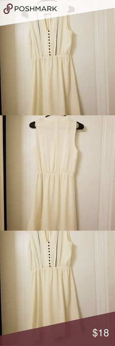 H&M Cream Black Button Dress Size 8 💕Beautiful cream dress by H&M. Has a slip under the sheer outter layer.  💕Purchase two or more items from my shop and get 10% off H&M Dresses Midi