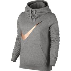 Women's Nike Sportswear Funnel Neck Hoodie  Color: Grey with rose gold swoosh Size: xl Available at Fred Meyer as well